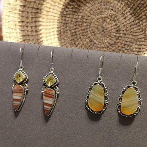 NWOT 2 Pair Sterling Gem & Stone Earrings